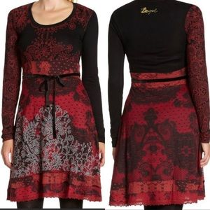 Desigual Guero long sleeve red and black dress S